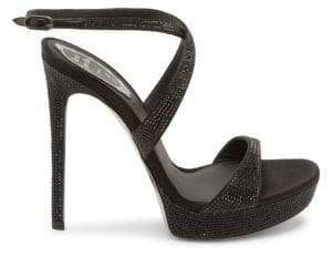 Rene Caovilla Women's Front Cross Stiletto Sandals - Black - Size 41 (11)