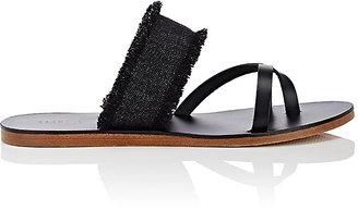 Barneys New York Women's Fringed Denim & Leather Slide Sandals $175 thestylecure.com