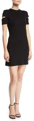 Helmut Lang Wide-Rib Crewneck Cutout-Sleeve Dress
