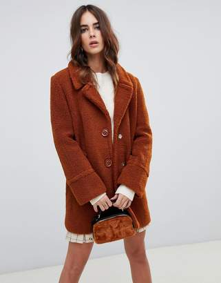 Fashion Union Single Breasted Coat In Teddy
