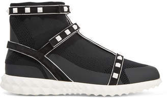 Valentino Garavani The Rockstud Bodytech Suede-trimmed Paneled Stretch-knit Sneakers - Black