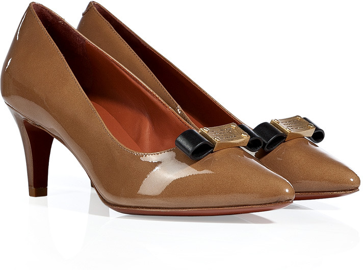 Marc by Marc Jacobs Patent Leather Andromeda Pumps in Dark Nude/Black