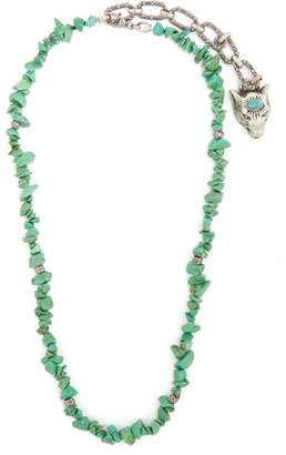 Gucci Turquoise Stone Embellished Silver Necklace - Womens - Green