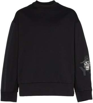 Y-3 skull embroidered boxy fit cotton jumper