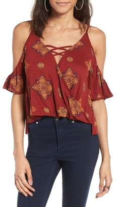 Women's Sun & Shadow Cold Shoulder Surplice Top $35 thestylecure.com