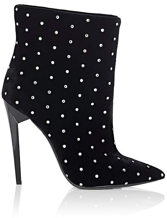 Saint Laurent Women's Freja Embellished Suede Ankle Booties