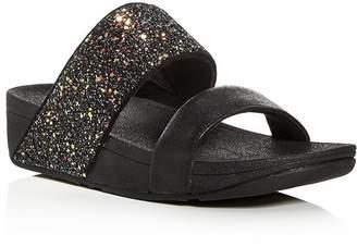 FitFlop Women's Rose Glitter Platform Wedge Slide Sandals