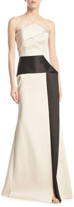 Roland Mouret Addover Strapless Two-Tone Peplum Evening Gown, Pink/Black
