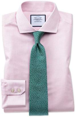 Charles Tyrwhitt Slim Fit Spread Collar Non-Iron Natural Cool Micro Check Pink Cotton Dress Shirt Single Cuff Size 15.5/33