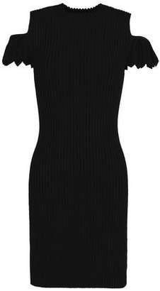 Maje Cold-Shoulder Ribbed-Knit Mini Dress