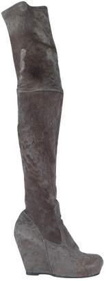 Rick Owens Grey Suede Boots