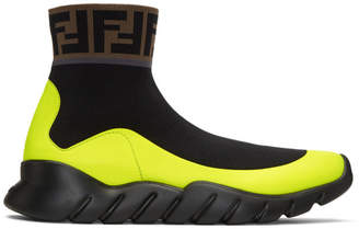 Fendi Black Tech Knit Forever High-Top Sneakers