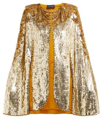 Dundas Embroidered Sequinned Sleeveless Cape - Womens - Gold