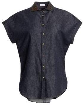 Brunello Cucinelli Embroidered Collar Chambray Short-Sleeve Button Down Shirt