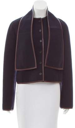 Celine Leather-Trimmed Wool Jacket