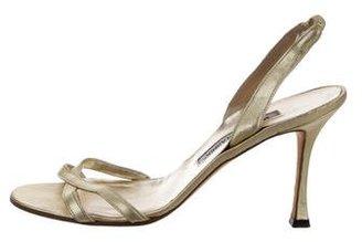Manolo Blahnik Metallic Slingback Sandals $80 thestylecure.com
