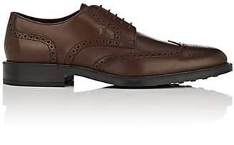 Tod's Men's Leather Wingtip Bluchers - Med. brown