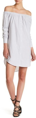 Mimi Chica Long Sleeve Off-the-Shoulder Button Down Dress $42 thestylecure.com