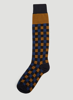 Marni Vichy Check Socks in Blue