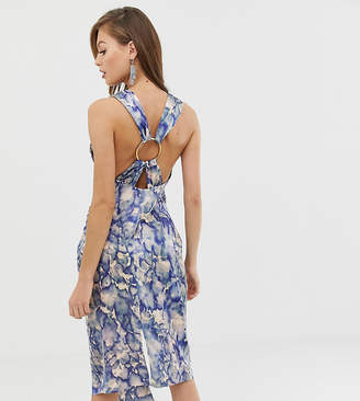 Asos Design DESIGN satin midi dress with ring detail in abstract print