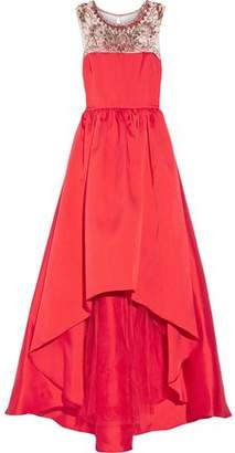 Mikael Aghal Embellished Tulle-paneled Satin-twill Gown