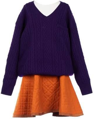Sacai Luck Purple Wool Dresses