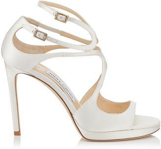 259350eed4b8 Jimmy Choo LANCE PF 100 Ivory Satin Strappy Sandals