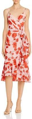 Eliza J Floral Faux-Wrap Midi Dress