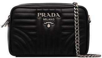 Prada black Diagram small quilted leather cross body bag