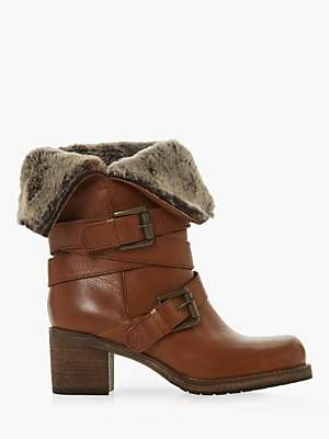 Dune Roko Block Heel Ankle Boots, Tan Leather