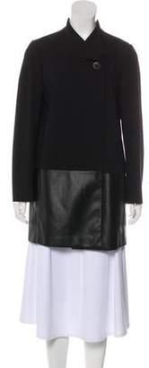 Lafayette 148 Faux Leather-Trimmed Short Coat