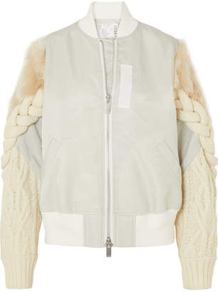 Sacai Shell, Cable-knit Wool-blend And Faux Fur Bomber Jacket - Gray