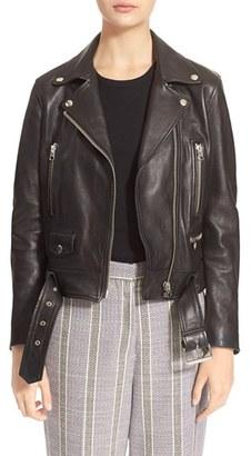 Women's Acne Studios Lambskin Mock Moto Jacket $1,600 thestylecure.com