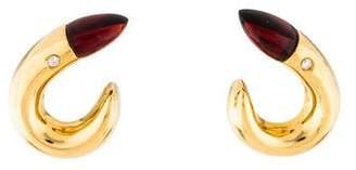 18K Garnet & Diamond Earrings
