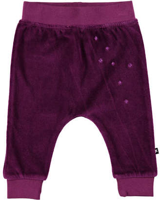 Molo Susse Velour Star-Embroidered Pants, Size 6-24 Months