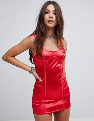 Motel structured bodycon dress in satin