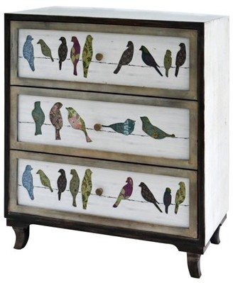 CrestView Birds on a Wire 3 Drawer Painted Chest