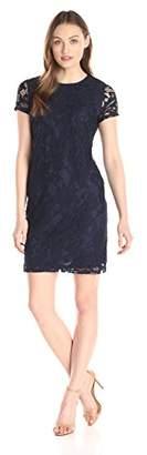 Lark & Ro Women's Short Sleeve Chunky Lace Shift Dress