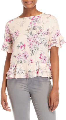 Emma And Olivia Floral Ruffled Top