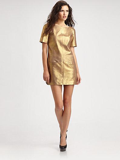 Rebecca Minkoff Rich Metallic Leather Dress