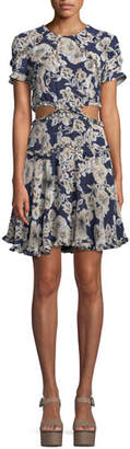 Bardot Brianna Floral-Print Cutout Mini Dress