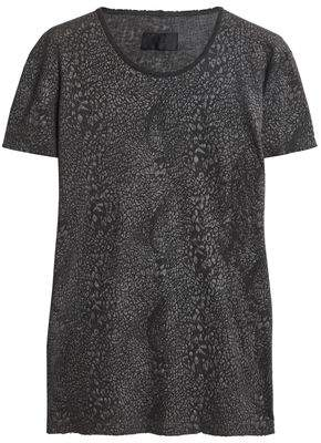 RtA Distressed Leopard-Print Cotton And Cashmere-Blend Jersey T-Shirt