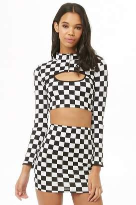 74db5162b6 Forever 21 Checkered Crop Top & Mini Skirt Three-Piece Set