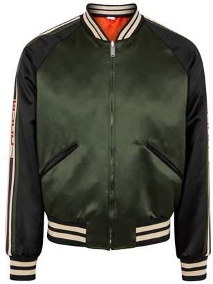 Gucci Green Reversible Satin Bomber Jacket