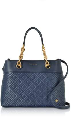 Tory Burch Fleming Royal Navy Leather Small Tote Bag w/Shoulder Strap