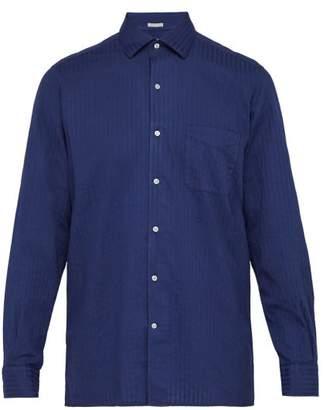 Massimo Alba Striped Cotton Shirt - Mens - Navy