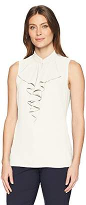 Lark & Ro Women's Sleeveless Ruffle Neck Shell Top