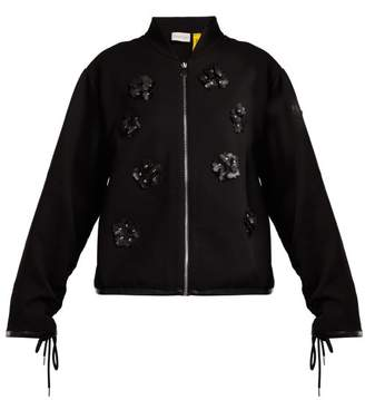 Noir Kei Ninomiya 6 Moncler Floral Applique Cotton Blend Bomber Jacket - Womens - Black