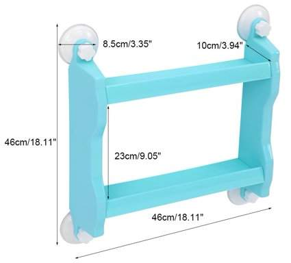 Zerodis Bathroom Kitchen Double Tiers Strong Suction Cup Rack Wall Mount Storage Shelf (White)