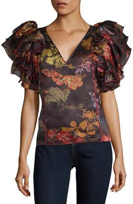Rosie Assoulin Dust Ruffle Silk Top
